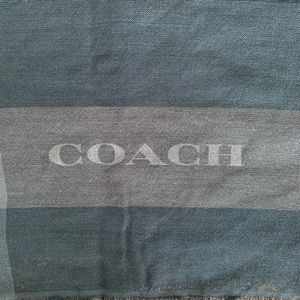 Coach Blue Fringe Plaid Square Scarf